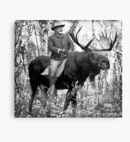 Teddy Roosevelt Riding A Bull Moose Canvas Print