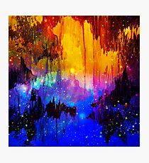 CASTLES IN THE MIST Bold Rainbow Colorful Magical Fantasy Fine Art Abstract Acrylic Painting Photographic Print