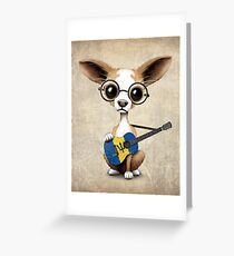 Cute Chihuahua Playing Barbados Flag Guitar Greeting Card