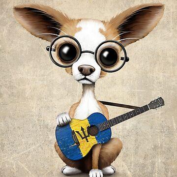 Chihuahua linda que toca la guitarra de la bandera de Barbados de JeffBartels