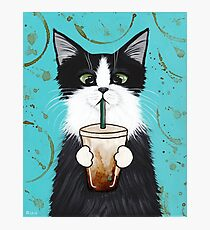 Tuxedo Cat with Iced Coffee Photographic Print