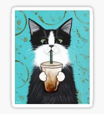 Tuxedo Cat with Iced Coffee Sticker