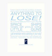 The Doctor's Speech at the Pandorica Art Print