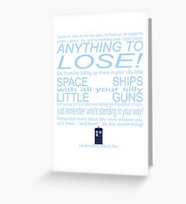 The Doctor's Speech at the Pandorica Greeting Card