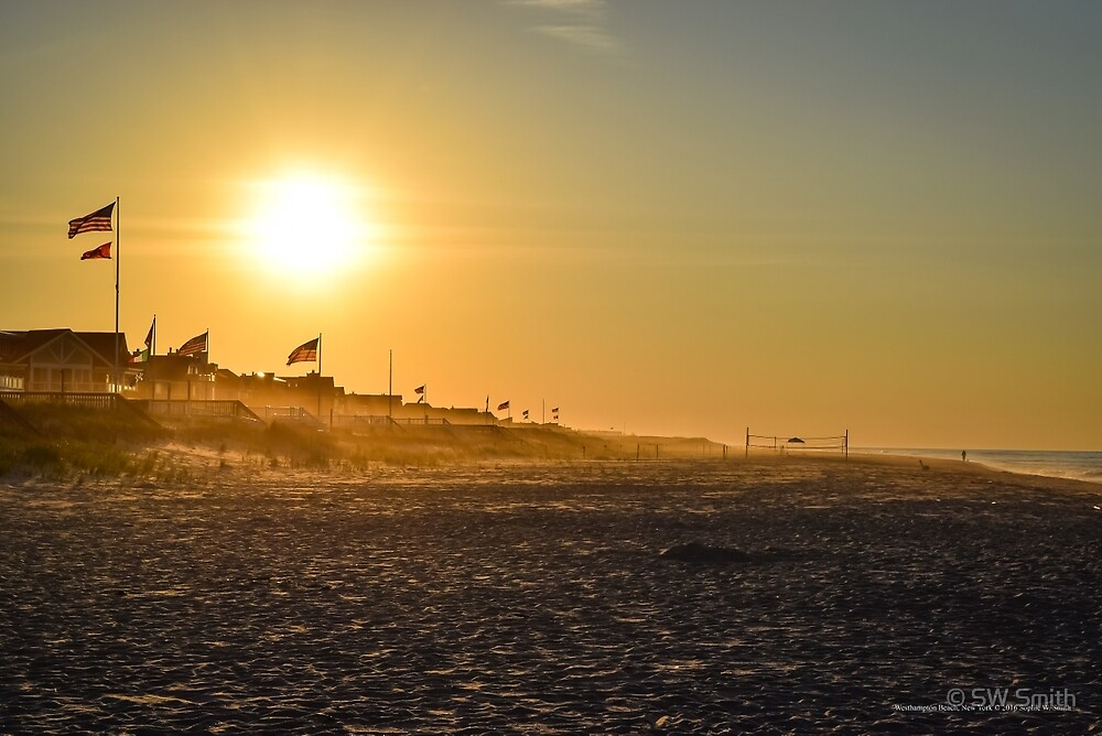 Sunrise Above American Flags   Westhampton Beach, New York by © Sophie W. Smith