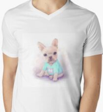 French Bull dog puppy sits on a white, watercolor painting T-Shirt