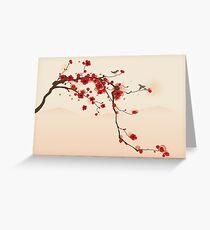 Wunderlicher roter Kirschblüten-Baum Grußkarte