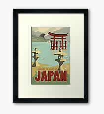 Japan - Kaiju Travel Poster Framed Print