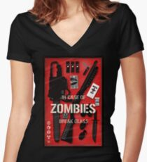 Zombie Emergency Kit Women's Fitted V-Neck T-Shirt