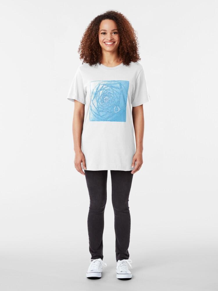 Alternate view of Magical Blue Fractal Depth Tee Slim Fit T-Shirt