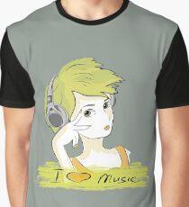I Love music, teenager listening music Graphic T-Shirt