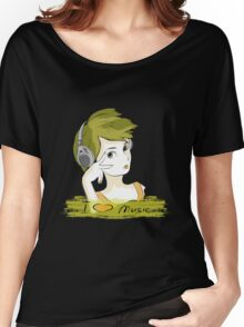 I Love music, teenager listening music Women's Relaxed Fit T-Shirt
