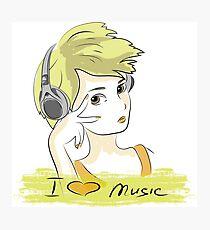 I Love music, teenager listening music Photographic Print