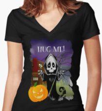 Grim Reaper - Hug Me! Women's Fitted V-Neck T-Shirt