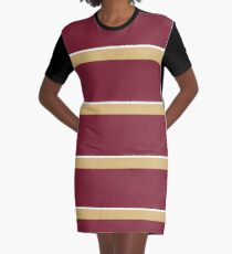 Garnet Gold and White Banded Graphic T-Shirt Dress