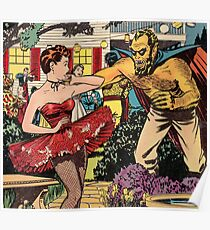 Demon attacking a young woman 50s comic vintage pop art Poster
