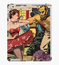 Demon attacking a young woman 50s comic vintage pop art iPad Case/Skin