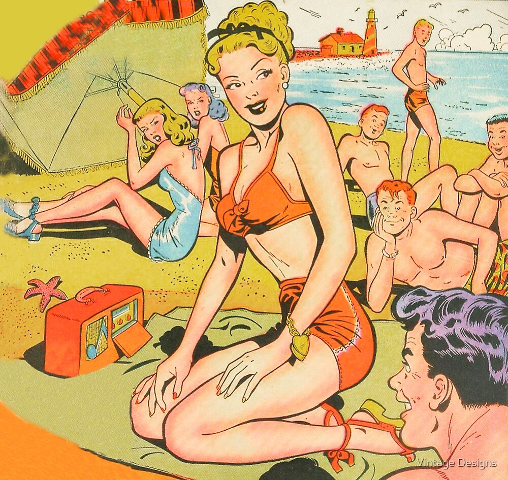 Dotty on the beach in her swimsuit vintage comic art by Vintage Designs