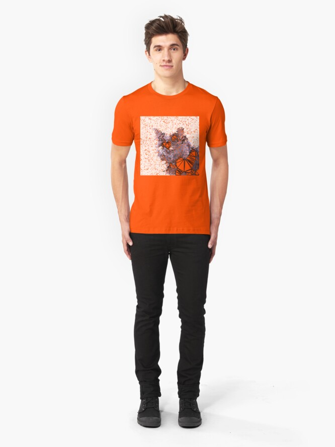 Alternate view of Red Black Cat #Polygonized Slim Fit T-Shirt