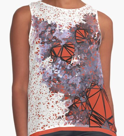 Red Black Cat #Polygonized Sleeveless Top