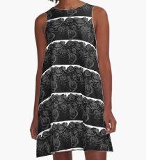 Black Velvet Roses A-Line Dress
