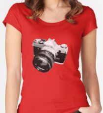 Black and White 35mm SLR Design Women's Fitted Scoop T-Shirt