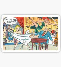 Ladies fighting in a restaurant vintage comic art Sticker