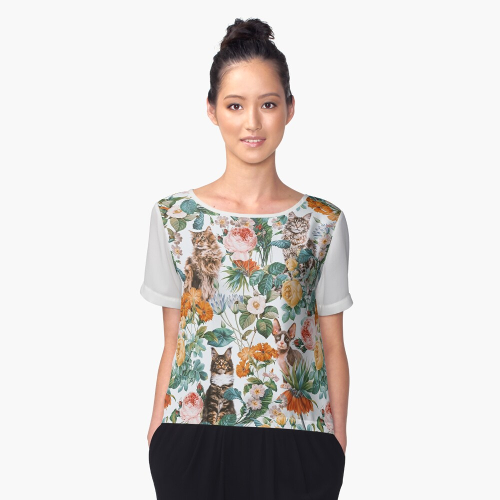 Cat and Floral Pattern III Women's Chiffon Top Front