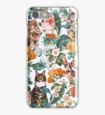 Cat and Floral Pattern III iPhone Case/Skin