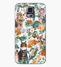 Cat and Floral Pattern III Case/Skin for Samsung Galaxy