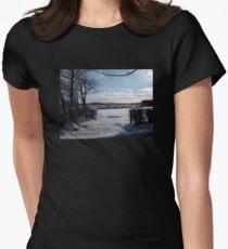 WINTER SCENE IN RURAL DEVON ENGLAND UK Women's Fitted T-Shirt