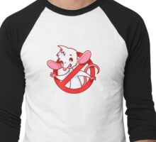 Cute white mouse inside red prohibitory sign. Men's Baseball ¾ T-Shirt