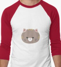 Brown Cat with yellow stripes Men's Baseball ¾ T-Shirt