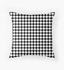Classic Black and White Large Diamond Checker Board Pattern Throw Pillow