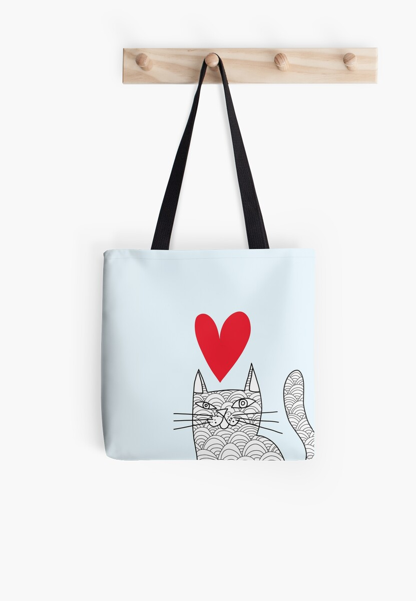 Love Cat on Blue by Kitty Blake