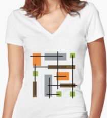 Cubicle Atomic Era Art Women's Fitted V-Neck T-Shirt