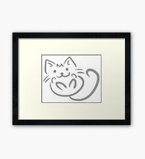 Playful Kitten Gray And White Framed Print