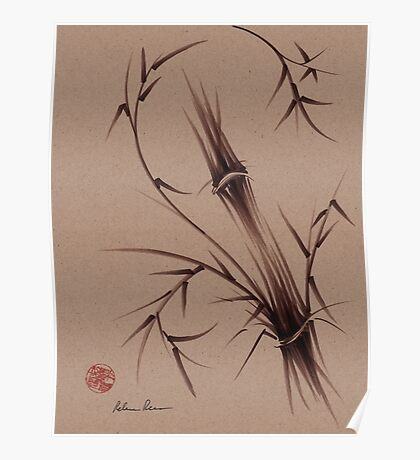 """""""As One""""  Original brush pen sumi-e bamboo drawing/painting Poster"""