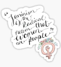 Feminism is the radical notion that women are people. Sticker