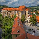 Czech Republic. Český Krumlov. Looking from the Tower at Castle. by vadim19
