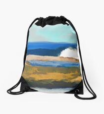 Jane Holloway |The Beach at the Entrance Drawstring Bag