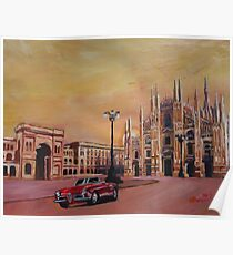 Milan Cathedral with Oldtimer Convertible Alfa Romeo Poster
