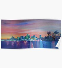 Miami Skyline Silhouette at Sunset, Florida, USA  Poster