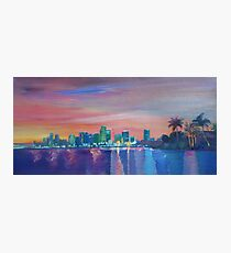 Miami Skyline Silhouette at Sunset, Florida, USA  Photographic Print