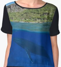 Coastal cliff split with whale underwater sea Women's Chiffon Top