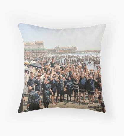 Hands up to the camera! on the beach at Atlantic CIty, NJ, 1905 Throw Pillow