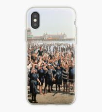 Hands up to the camera! on the beach at Atlantic CIty, NJ, 1905 iPhone Case