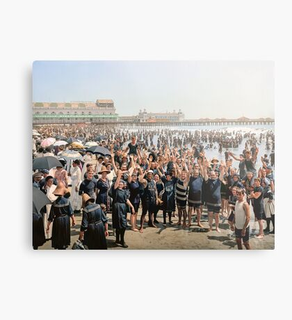 Hands up to the camera! on the beach at Atlantic CIty, NJ, 1905 Metal Print