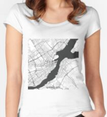 Quebec City Map Gray Women's Fitted Scoop T-Shirt