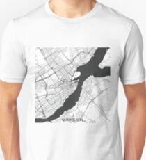Quebec City Map Gray Unisex T-Shirt